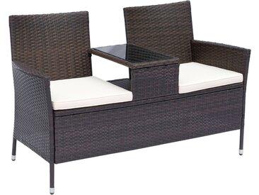 Banc de jardin design contemporain 133L x 63l x 84H cm banc double chaise avec coussins assise + tablette intégrée résine tressée chocolat polyester crème