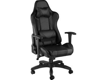 Chaise de Bureau Design Gamer ergonomique confortable avec Accoudoirs réglables et Coussins de nuque et dos Noir