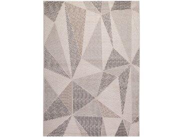 Tapis scandinave en polypropylène géométrique Svaneke Argenté 80x150