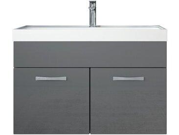 Meuble de salle de bain Paso 01 80x40cm lavabo Gris brillant – Armoire de rangement