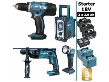 Pack Starter Makita 18V: Perceuse 42Nm DDF453 + Perforateur 1,3J DHR165 + Radio DMR108 + Lampe torche DEADML802 + 3 batteries 3Ah + 2 coffrets MAKPAC
