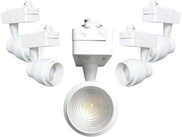 Spot LED sur Rail 15W Multi-angle COB Monophasé BLANC (Pack de 5) - Blanc Neutre 4000K - 5500K