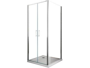 Cabine de douche de 6 millimètres angulaire avec deux faces H.190 un mur fixe lateral et un porte centrale vantail type saloon – 72,5-75 fixe x 97-100 vantail type saloon