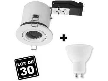 Lot 30 Spots BBC Orientable Blanc + Ampoule GU10 5W Blanc Froid + Douille