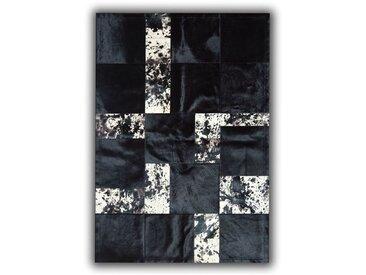 Tapis noir en peau de vache pour salon Telde Noir 140x200 - Noir