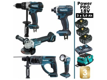 Pack Makita Power PRO 18V: Perceuse 91Nm DDF458 + Perfo 2J DHR202 + Meuleuse 125mm DGA504 + Visseuse à chocs 165Nm DTD152 + Lampe Torche + 3 batt 5Ah + sac MAKITA
