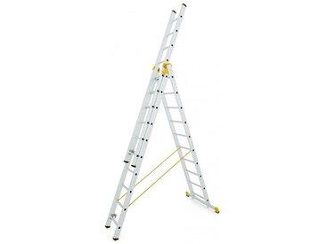 B. Echelle triple de longueur pliée de 2.99m. dépliée de 6.95m et de 4.96m en position escabeau.