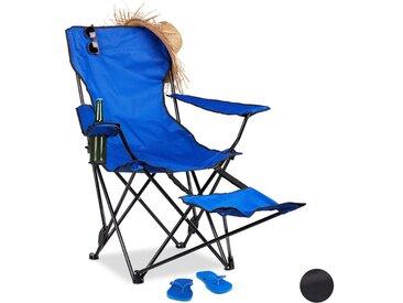 Chaise de camping pliante repose-pieds porte-boissons 120 kg fauteuil pliable pêche, bleu