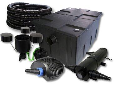 SunSun Kit de filtration de bassin 60000l avec 36W Stérilisateur et 40W éco Pompe 25m Tuyau Skimmer
