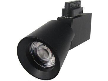 Spot LED sur rail 25W 38° Monophasé NOIR - Blanc Chaud 2300K - 3500K