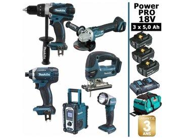 Pack Power PRO Makita 6 outils 18V: Perceuse DDF458 + Visseuse à choc DTD152 + Meuleuse DGA504 + Scie sauteuse DJV180 + Radio DMR108 + Lampe Torche LED + 3 batt 5Ah + sac