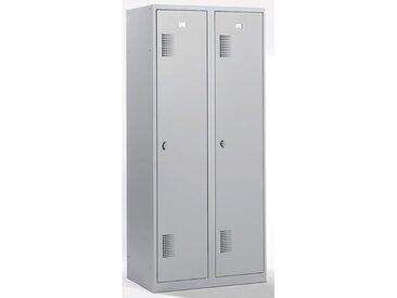 QUIPO Vestiaire - largeur 800 mm, 2 compartiments de 398 mm, dispositif porte-cadenas - entièrement gris clair