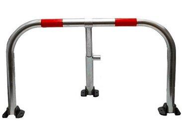 Arceau parking galvanisé bandes rouges pieds noirs - anti-stationnement serrure intégrée (barillet s'entrouvrant)