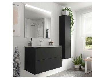 Meuble de salle de bain suspendu 80 cm Ulisse en bois couleur Noir mat avec lavabo en porcelaine   80 cm - Avec colonne, miroir et lampe LED