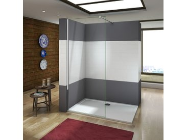Paroi de douche 70x200cm paroi de douche à l'italienne verre anticalcaire avec barre de fixation 140cm et la pince tourne à 360 degré