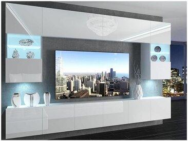 Hucoco - PRINS | Ensemble meubles TV + LED | Unité murale style moderne | Largeur 300 cm | Mur TV à suspendre - Blanc