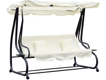 Balancelle de jardin 3 places convertible toit imperméabilisé inclinaison réglable 2 tablettes support 2L x 1,2l x 1,64H m métal époxy noir polyester crème