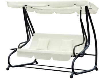 Outsunny - Balancelle de jardin 3 places convertible toit inclinaison réglable 2 tablettes support 2L x 1,2l x 1,64H m métal époxy noir polyester crème