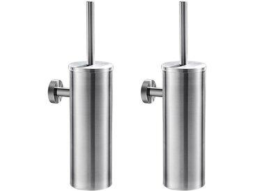 2pcs Brosse de Toilette avec Porte-balai WC Mural inox Salle de Bains Toilettes