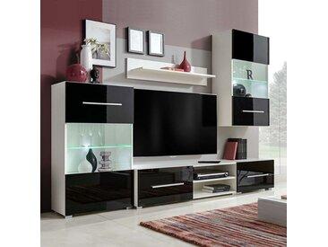 Meuble TV mural 5 pieces avec eclairage LED Noir