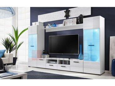 ELIA | Unité murale style contemporain 4 pcs | Éclairage LED inclus | Mur TV | Ensembles meubles salon séjour | Meuble bas TV | Blanc - Blanc
