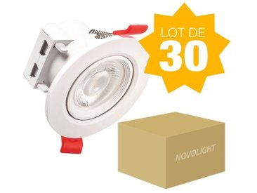 LOT DE 30 Spots LED dimmable 7W 600Lm 3000K BA38 RA80 Blanc