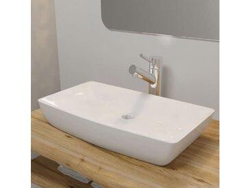 Lavabo rectangulaire Céramique Blanc 71 x 39 cm
