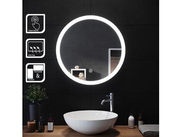 SIRHONA 60x60cm Ronde Lumineuse LED Lumineuse Miroir Miroir de maquillage avec capteur de contr?le tactile, antipoussière et anti-buée, lumière blanche