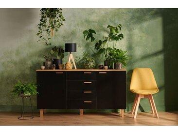 FRILI | Commode buffet enfilade style scandinave chambre/salon/entrée | 150x81x46 cm | 2 portes + 4 tiroirs | Design nordique | Noir/Chêne - Noir/Chêne
