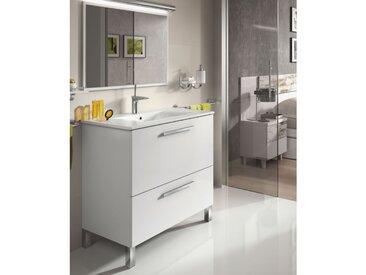 Meuble de salle de bain sur le sol 80 cm Blanc Brillant avec miroir | Blanc brillant - Avec lampe Led