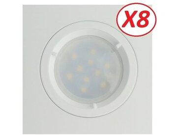 Lot de 8 Spots Led Blanc Carré lumière Blanc Neutre 5W eq. 50W ref.464