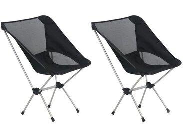 Chaises de camping pliables et sac 2 pcs 54x50x65 cm Aluminium