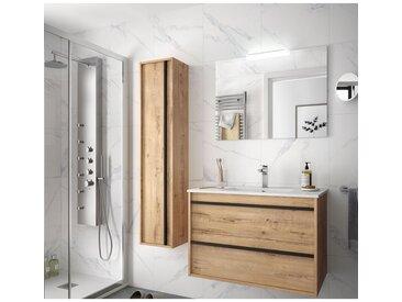 Meuble de salle de bain suspendu 80 cm Nevada en bois couleur chêne ostippo avec lavabo en porcelaine   80 cm - Avec miroir et lampe LED