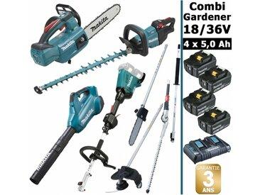 Pack 18/36V Combi Gardener: outil multifonction avec 4 accessoires + tronçonneuse 18V 25cm + taille haie 18V 60cm + souffleur 36V + 4 batt 5Ah MAKITA DUX60 DUC254 DUH602 DUB362