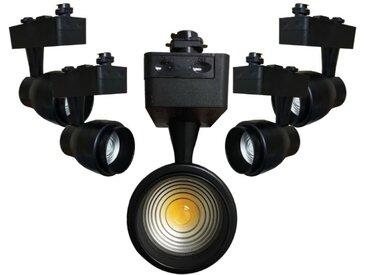 Spot LED sur Rail 30W Multi-angle COB Monophasé NOIR (Pack de 5) - Blanc Neutre 4000K - 5500K