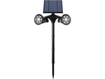 Double spot solaire projecteur 2 en 1 à piquer ou à fixer éclairage puissant LED blanc DOLBY SPIKY H71cm avec détecteur de mouvement