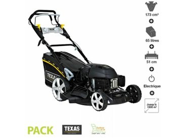 Texas - Tondeuse thermique tractée 173 cc 4,4cv démarrage électrique 51cm coupe mulching Razor 5160TR/WE