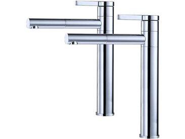 2x Robinets Salle de Bain Haut Bec Pivotant 360° Mitigeur pour Vasque Robinetterie de Lavabo en Laiton de Qualité - Homelody