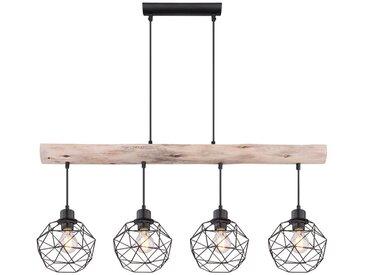 Plafonnier pendule vintage poutres en bois salon salle à manger suspension lampe treillis noir Globo 15416-4
