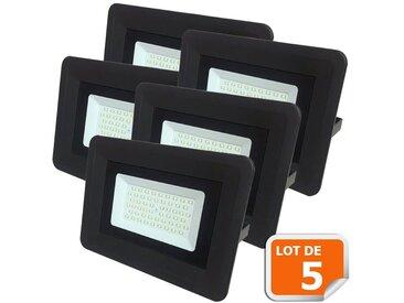 Lot de 5 LED Projecteur Lampe 50W Noir 6000K IP65 Extra Plat