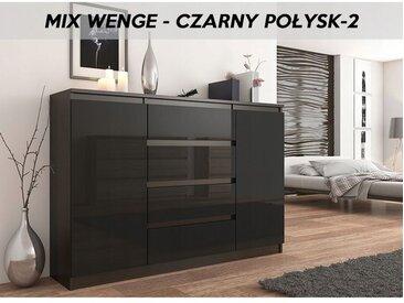 PORTO 2W | Commode contemporaine meuble rangement chambre/salon | 140x40x98 cm | 4 tiroirs | Finition Gloss | Buffet séjour | Wenge/Noir Gloss - Wenge/Noir Gloss