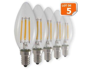 Lot de 5 Ampoules Flamme Filament 4w eq. 42W Culot E14 blanc chaud 2700-3200K