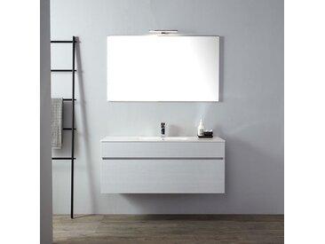 Meuble De Salle De Bains Moderne Gris Avec Lavabo De 120 Cm Et Miroir Série Sole