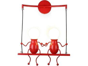 Rouge Moderne Lampe Murale Double E27 Douille Applique Créatif Simplicité Design Petite Personne Créatif E27 Luminaire pour Chambre d'enfant Couloir Décoratives Eclairage Cuisine Loft Bar