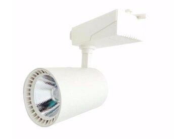 Spot LED sur Rail 30W 80° Monophasé BLANC - Blanc Chaud 2300K - 3500K