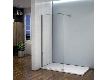 Paroi de douche 80x200cm avec barre de fixation 140cm paroi de douche à l'italienne verre anticalcaire