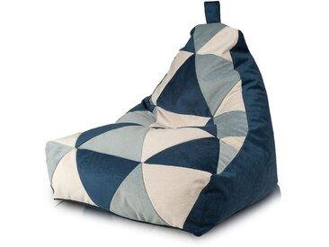 BEANBAG / POUF Keiho S - ECO-CUIR moderne | bleu marine-crème