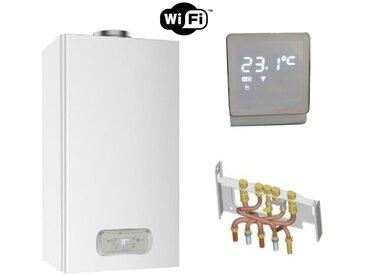 Chaudière Gaz BasNox Inoa Nox Chaffoteaux 25 kW / Cheminée Complète (Douilles + Dosseret) avec Thermostat Connecté