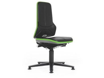 Siège d'atelier NEON avec patins, assise en mousse intégrale, noir/vert