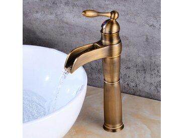 Robinet lavabo surélevé style rétro avec bec en cascade bronze